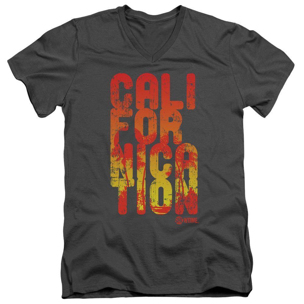 Californication Cali Type Charcoal V-Neck T-Shirt