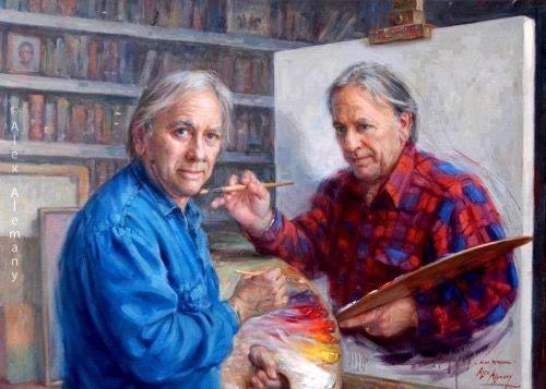 Uma pintura dentro de uma pintura que está sendo pintada pelo pintor que pintou a pintura onde ele estava pintando