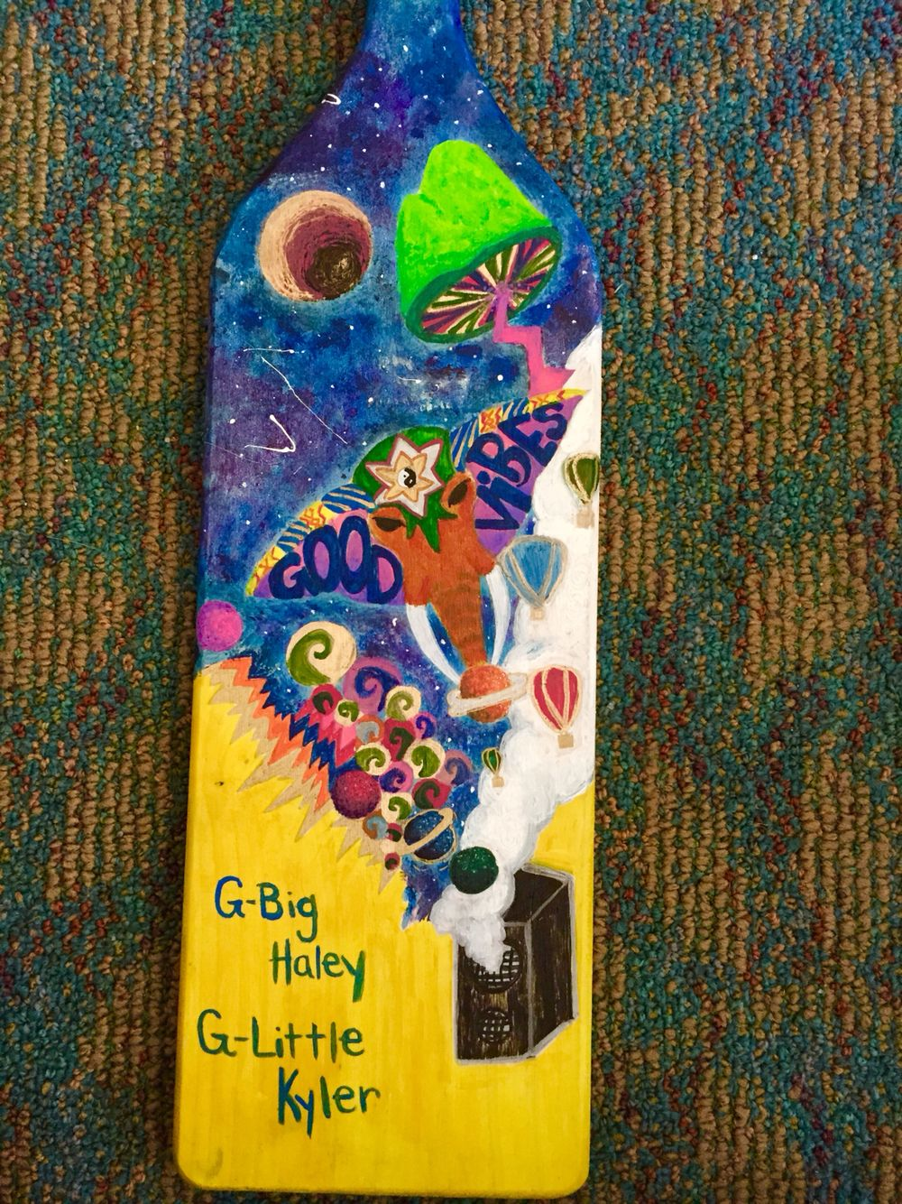 High Quality Trippy Sorority / Fraternity Big Little Paddle. I Love The Good Vibe  Elephant And The
