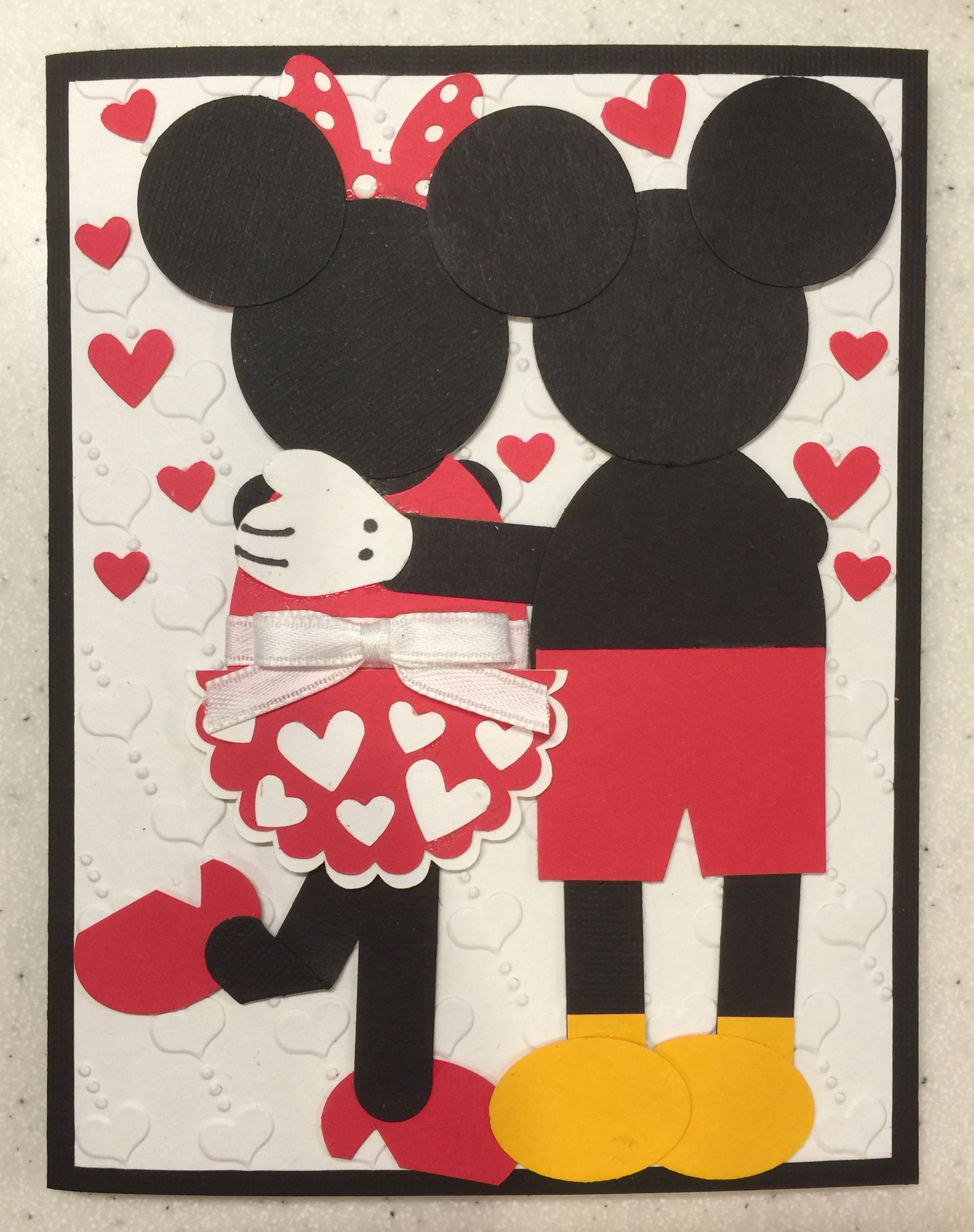 Mickey and Minnie Love Anniversary Card.  Inspired by http://ruthsstampingcorner.blogspot.com