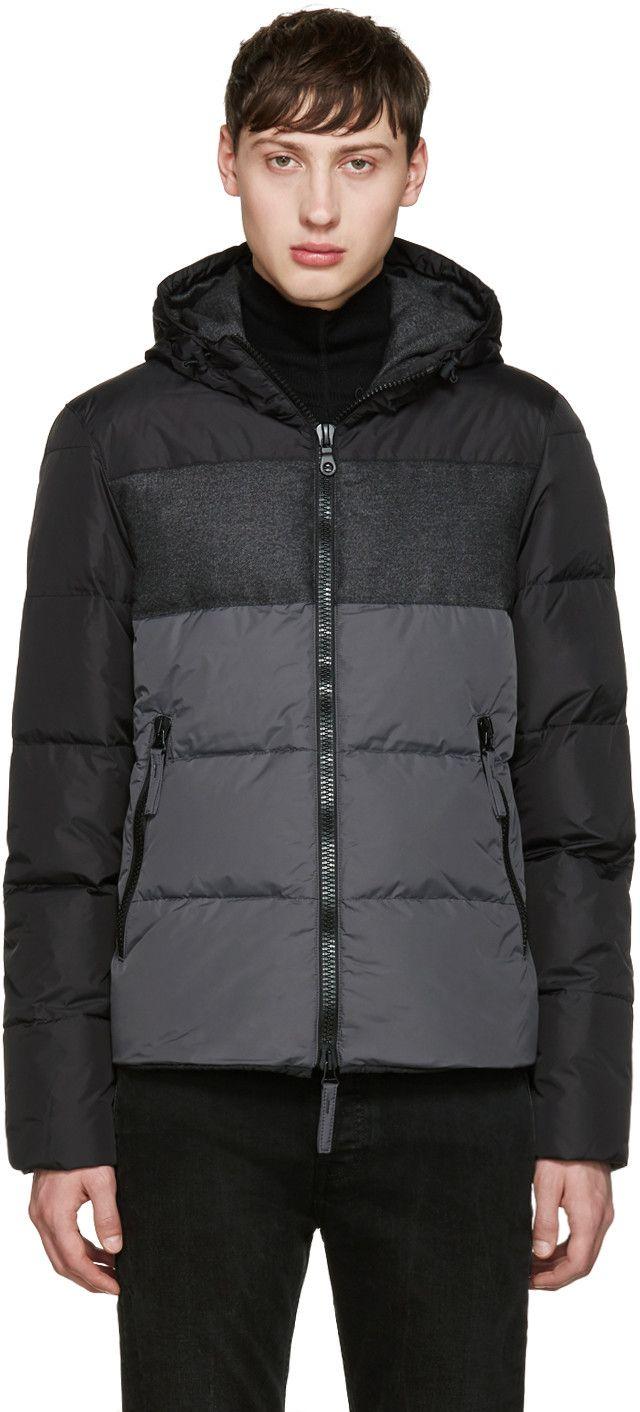 sports shoes 147d7 c7438 Duvetica - Black & Grey Cadel Down Jacket | Down | Mens zip ...