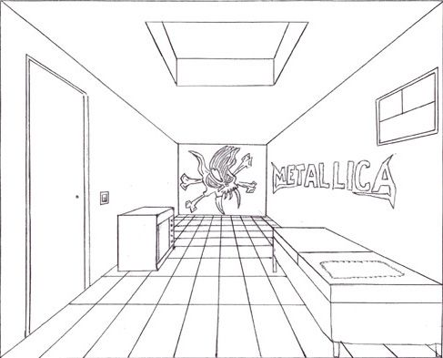 Bilderesultat for one point perspective drawings