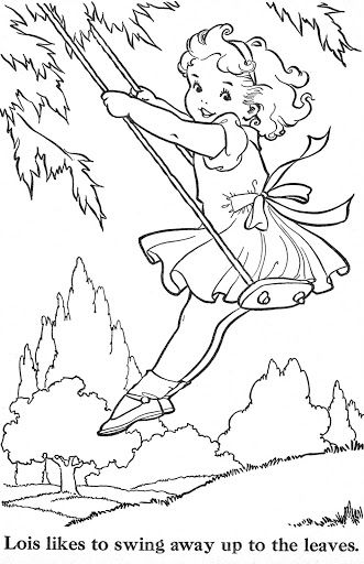 vintage coloring pages of children - photo#34