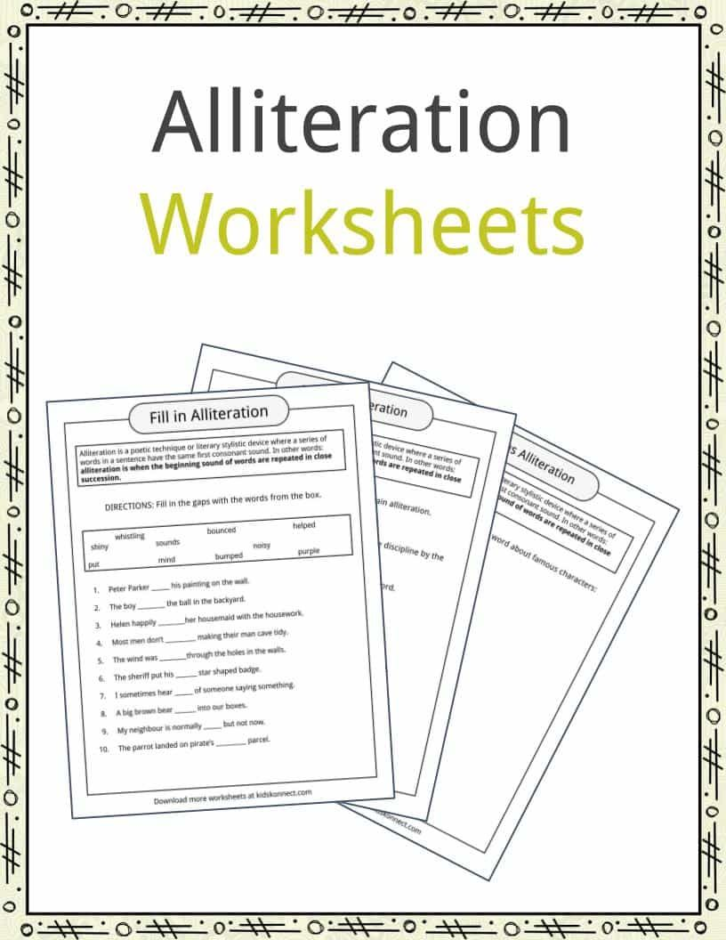Alliteration Example Definition Worksheet Kidskonnect Poetry Worksheets Paraphrase Francais Francai