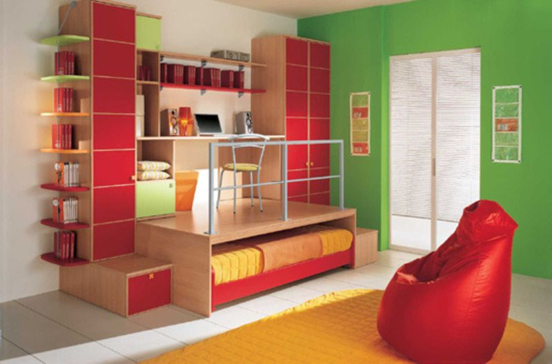 Color combination of modern kids bedroom interior design by