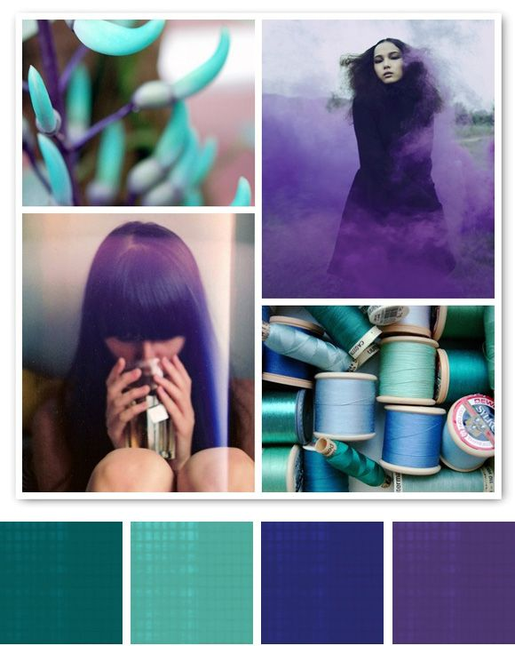 purples and turquoise