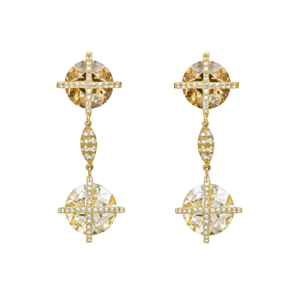 Betteridge multicolored diamond pendant earrings multicolored