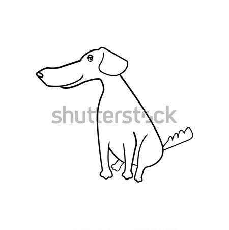 Line Drawing Black White Cute Dog Cartoon Doggy
