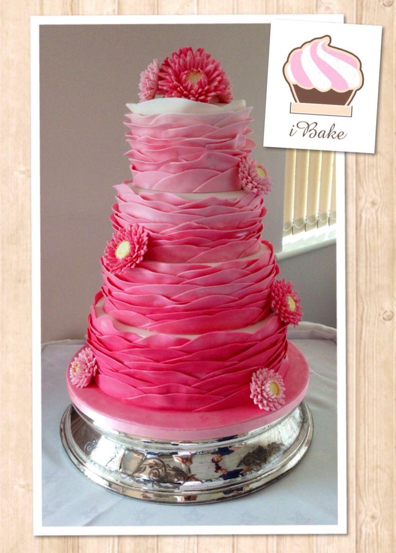 Gorgeous ombré ruffle wedding cake riesibake
