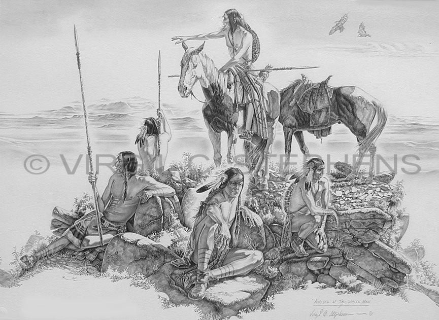 Pencil Drawings Of American Indian Under Town