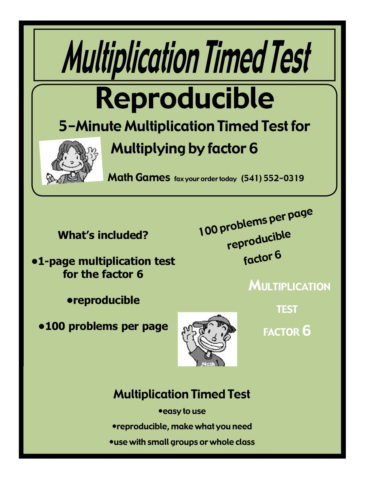 Multiplication 5-Minute Timed Test - Multiplying by 6 and Lesson ...