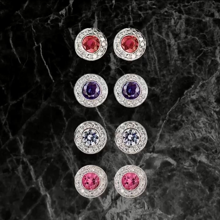 What a stud | Which color would you pick? #diamondstudearrings #studearrings #pinktourmalineearrings #bluesapphireearrings #rubyearrings #finejewelry #customjewelry