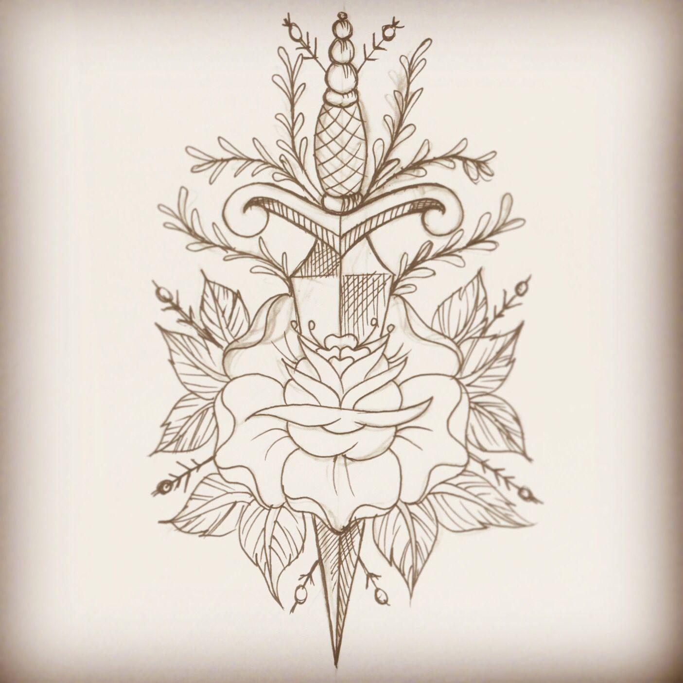 Tattoo old school tatuaggi old school pin up significato e foto quotes - Old School Dagger And Rose Tattoo Flash Lhptattoo Www Facebook Com Lhptattoo