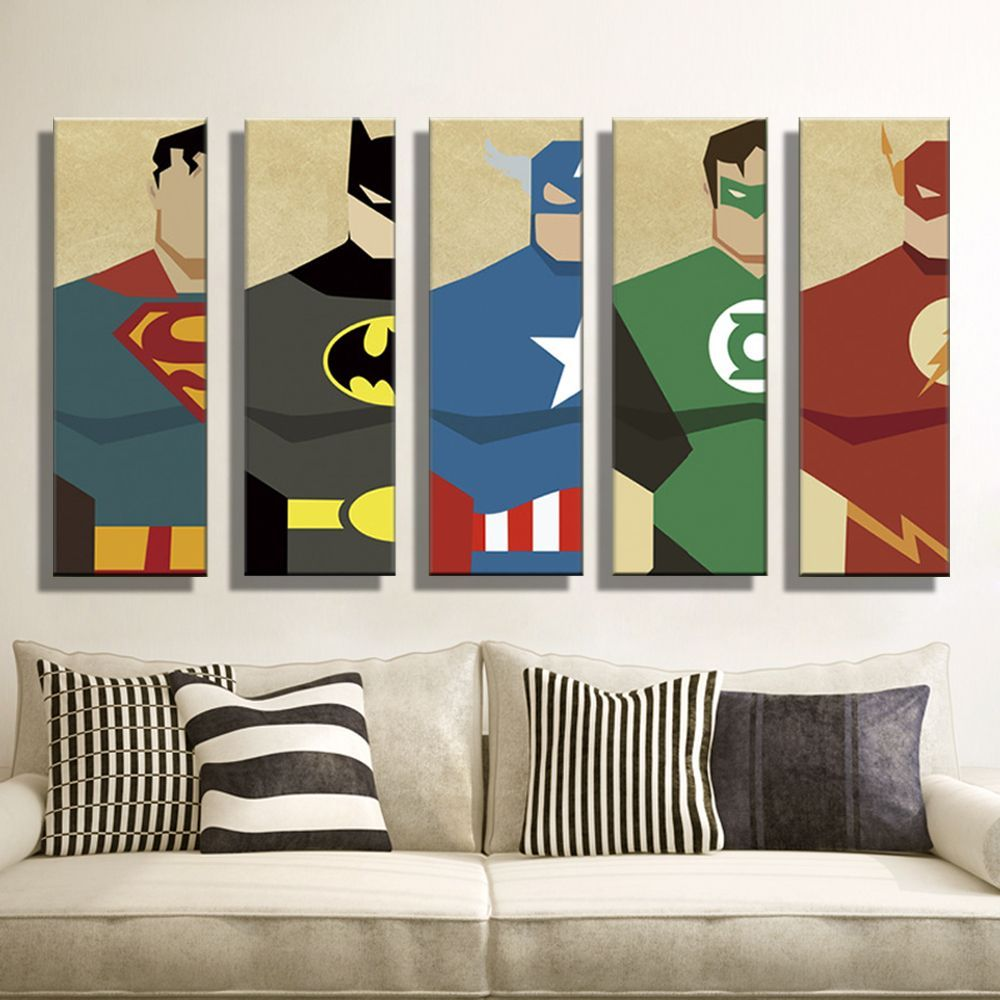 Oil Painting Canvas Super Hero Superman Batman Cartoon Modular Decoration  Home Decor Modern Wall Pictures For