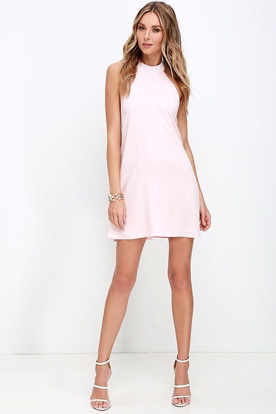 I Need a Hero Light Pink Halter Dress | Neckline