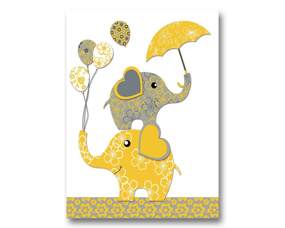 Neutral nursery artwork nursery wall art yellow grey elephant poster ...