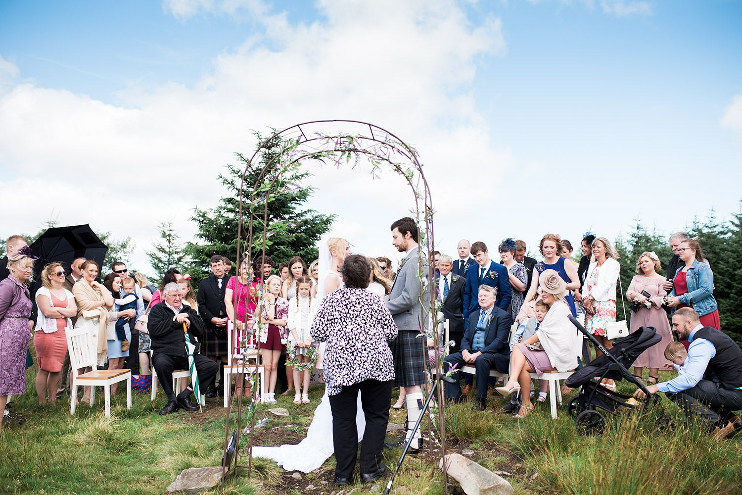 Dumfries Wedding Venue | Ae Forest Boho Hilltop Wedding. Amazing for small and intimate weddings like Callum & Carries.