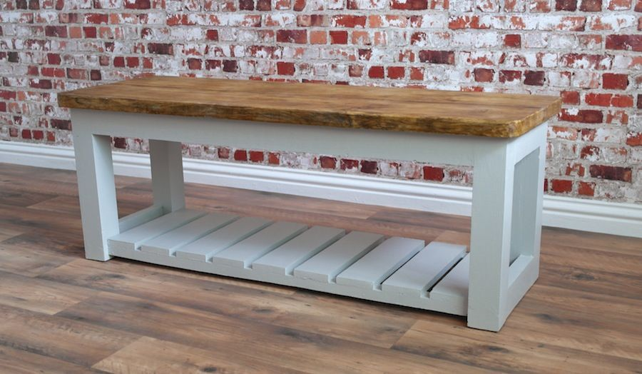 Rustic Hall Bench / Shoe Storage Bench made from Reclaimed Wood | 1p ...