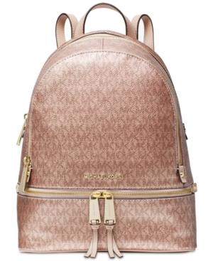 b2e9ebc60ccbff Michael Michael Kors Metallic Signature Rhea Zip Backpack - Pink ...