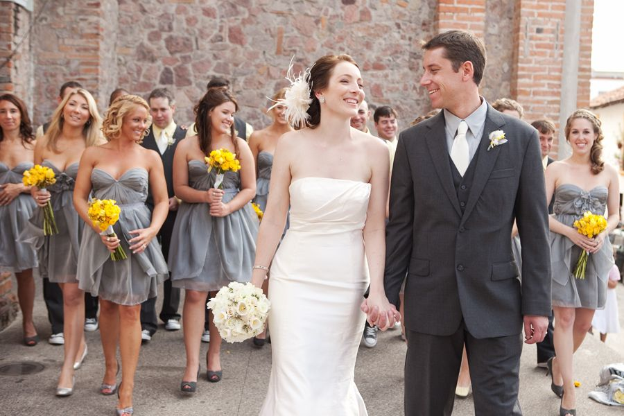 Lighter gray bridesmaid dresses and darker gray grooms men suits ...
