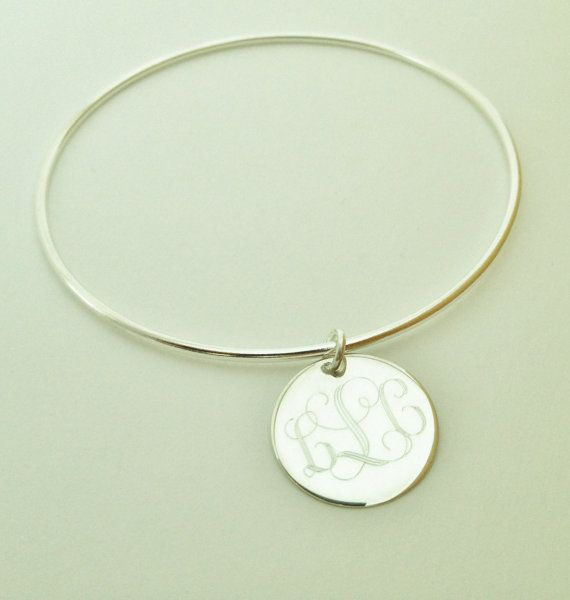 Silver Bangle Monogram Bracelet Sterling With Monogrammed Charm