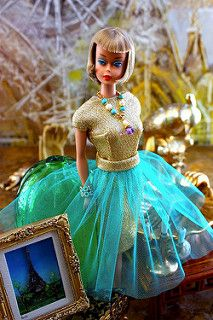 Gold and Turquoise Barbie Doll