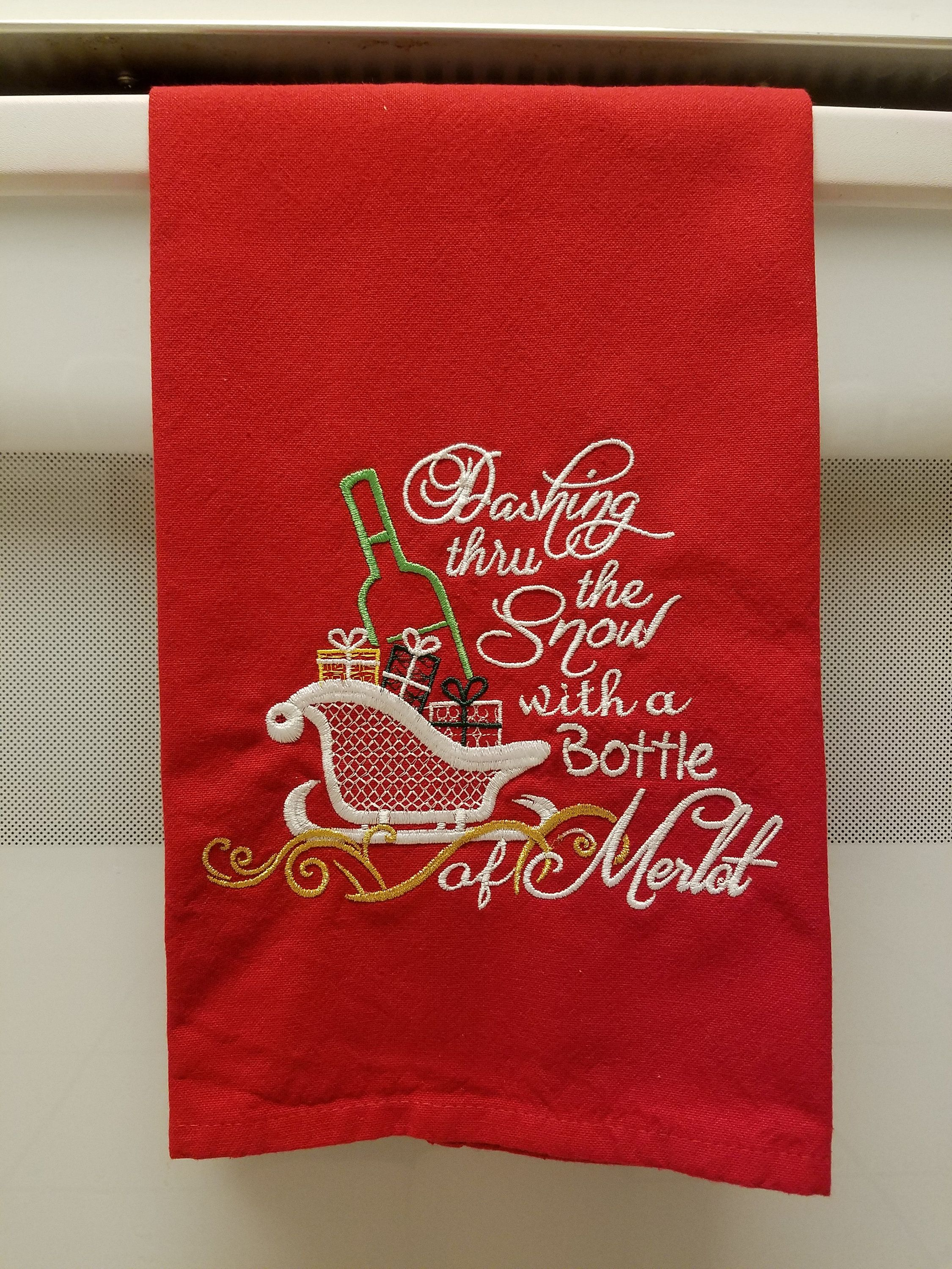 Embroidered Bottle Of Merlotembroidered Sleigh With Giftsdashing