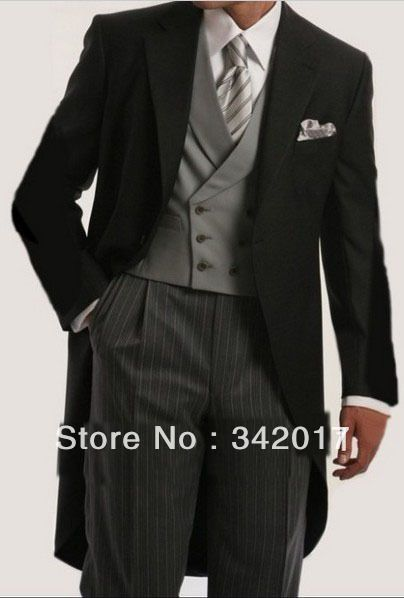 2014  Custom Design Morning Style Groom Tuxedos Best Man Notch Lapel Bridegroom Groomsmen Men Wedding Suits(
