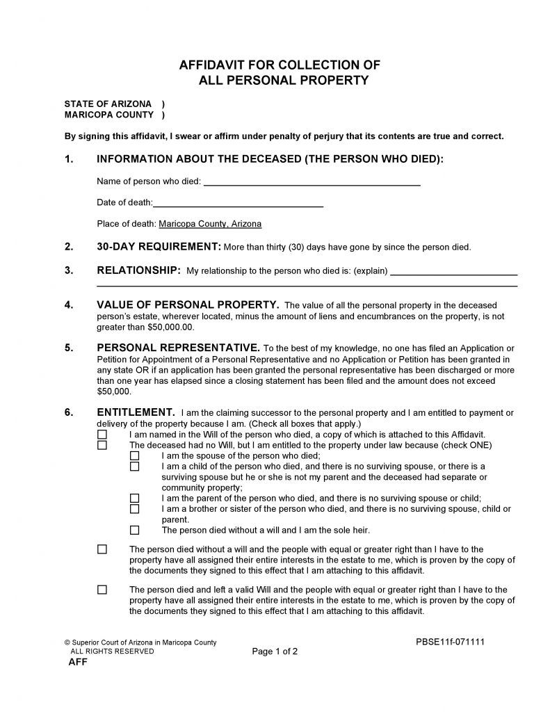 Maricopa County Arizona Small Estate Affidavit Form Free