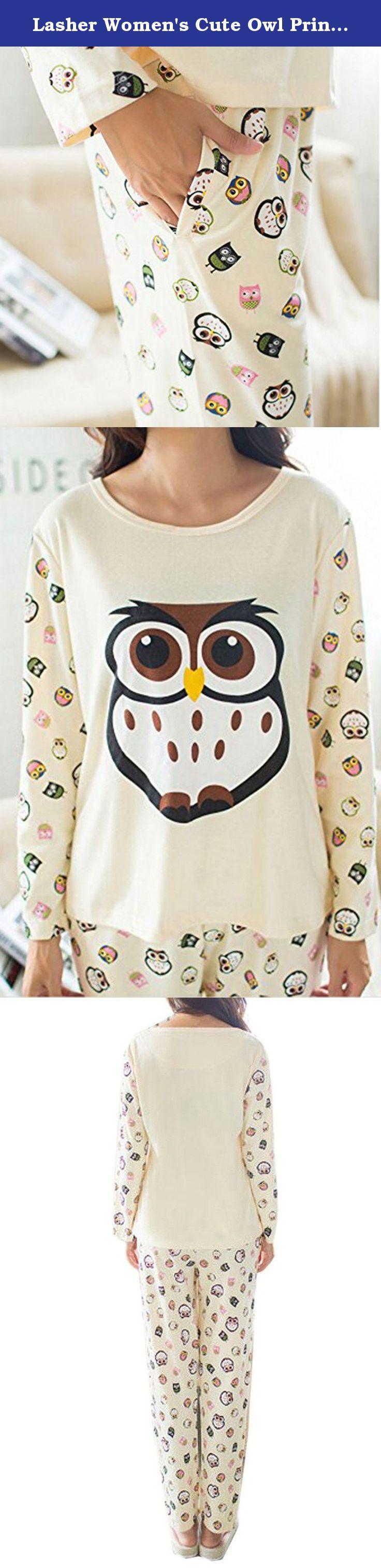 172 Cm 50 Kg lasher women's cute owl printed long sleeve sleepwear paj