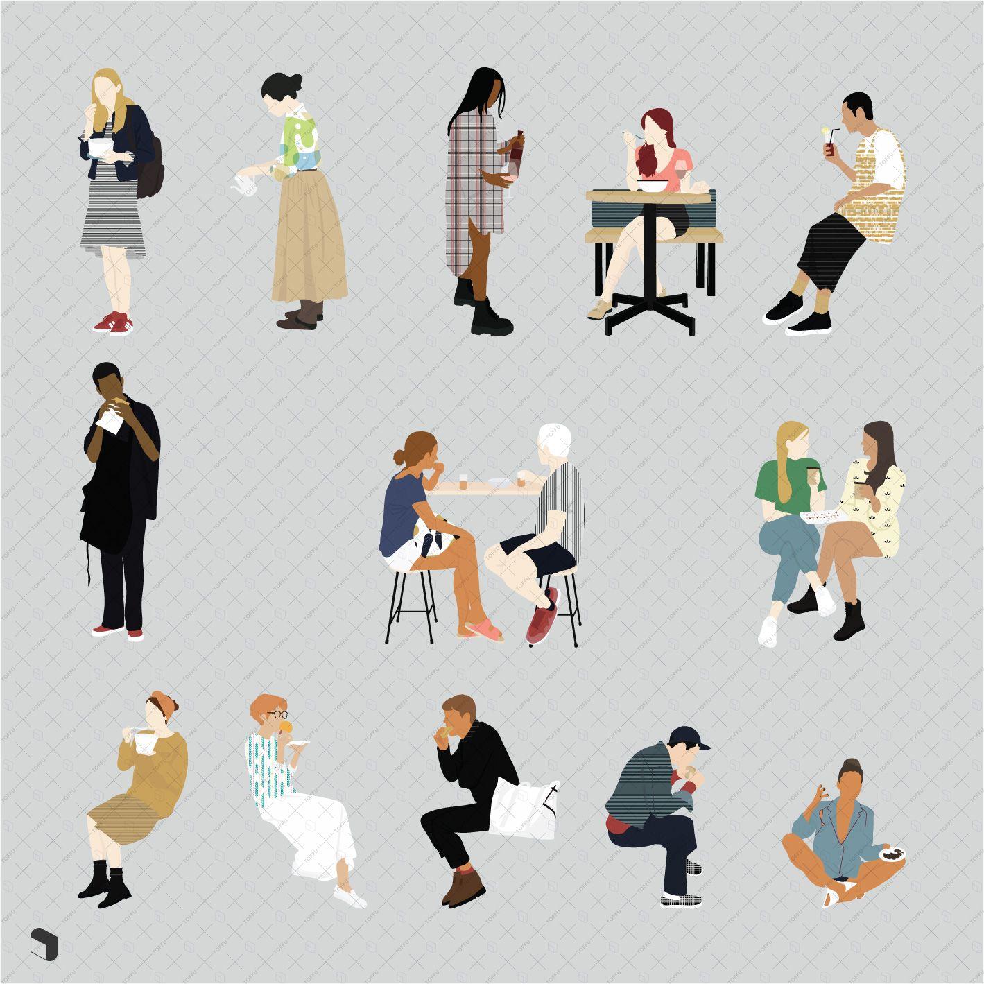 Flat Vector People Eating Cutouts Restaurant Cafe Illustrations People Png Vector Illustration