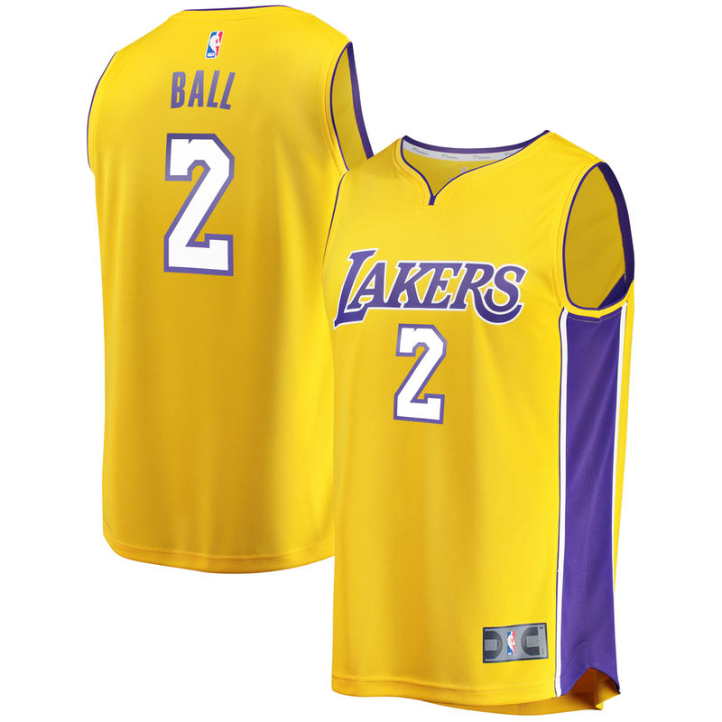 38031d06b Lonzo Ball Los Angeles Lakers Fanatics Branded Fast Break Replica Jersey  Gold - Icon Edition