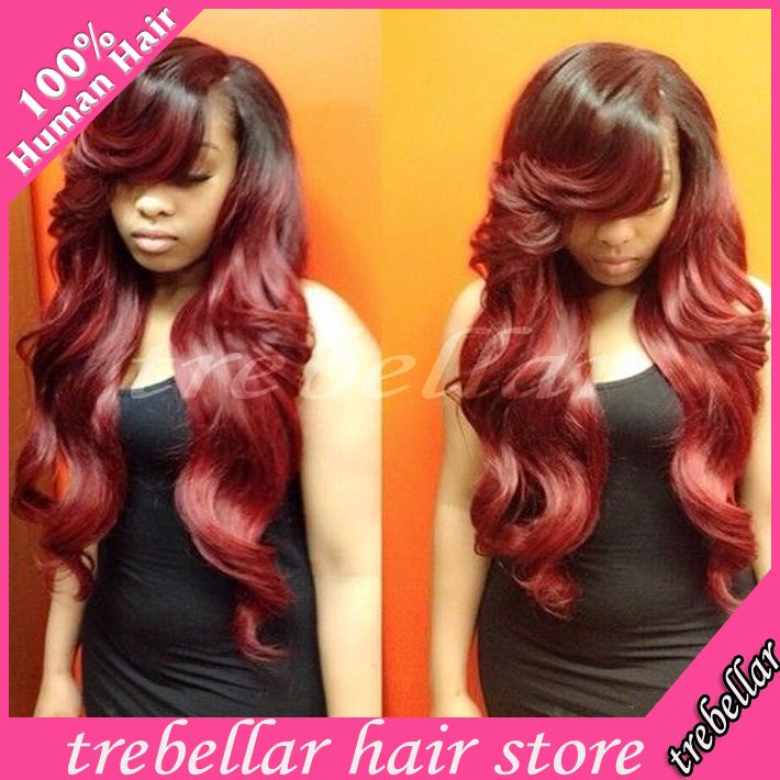 Find More Wigs Information about 2015 Hot Sale Ombre Wavy Human Lace Front Wig 130 180density Long Red Ombre Brazilian Virgin Wig With Side Bangs For Black Women,High Quality wig beanie,China wig bonding Suppliers, Cheap wigs with a bang from Trebellar Hair Store on Aliexpress.com
