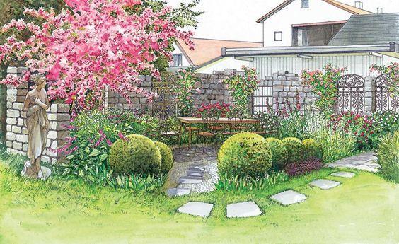 Zwei Ideen für schöne Gartenecken Gartenecke, Romantisch und - garten gestalten vorher nachher