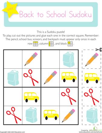 Sodoku versión infantil: Para empezar a acatar las primeras consignas escolares y asi lograr focalizar al niño en la tarea escolar