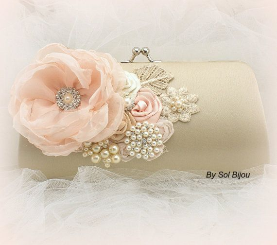 Clutch Bridal Clutch Party Clutch in Blush Champagne by SolBijou