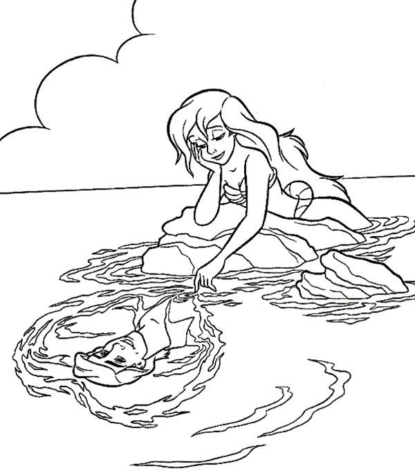 Ariel Always Thinking About Eric Coloring Page | Mermaid ...