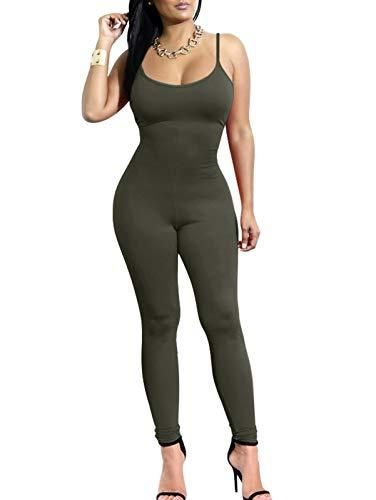 TOB Women's Sexy One Piece Spaghetti Strap Top Sports Bodycon Jumpsuits Made of Polyester + Spandex.Classy high quality fabric, super