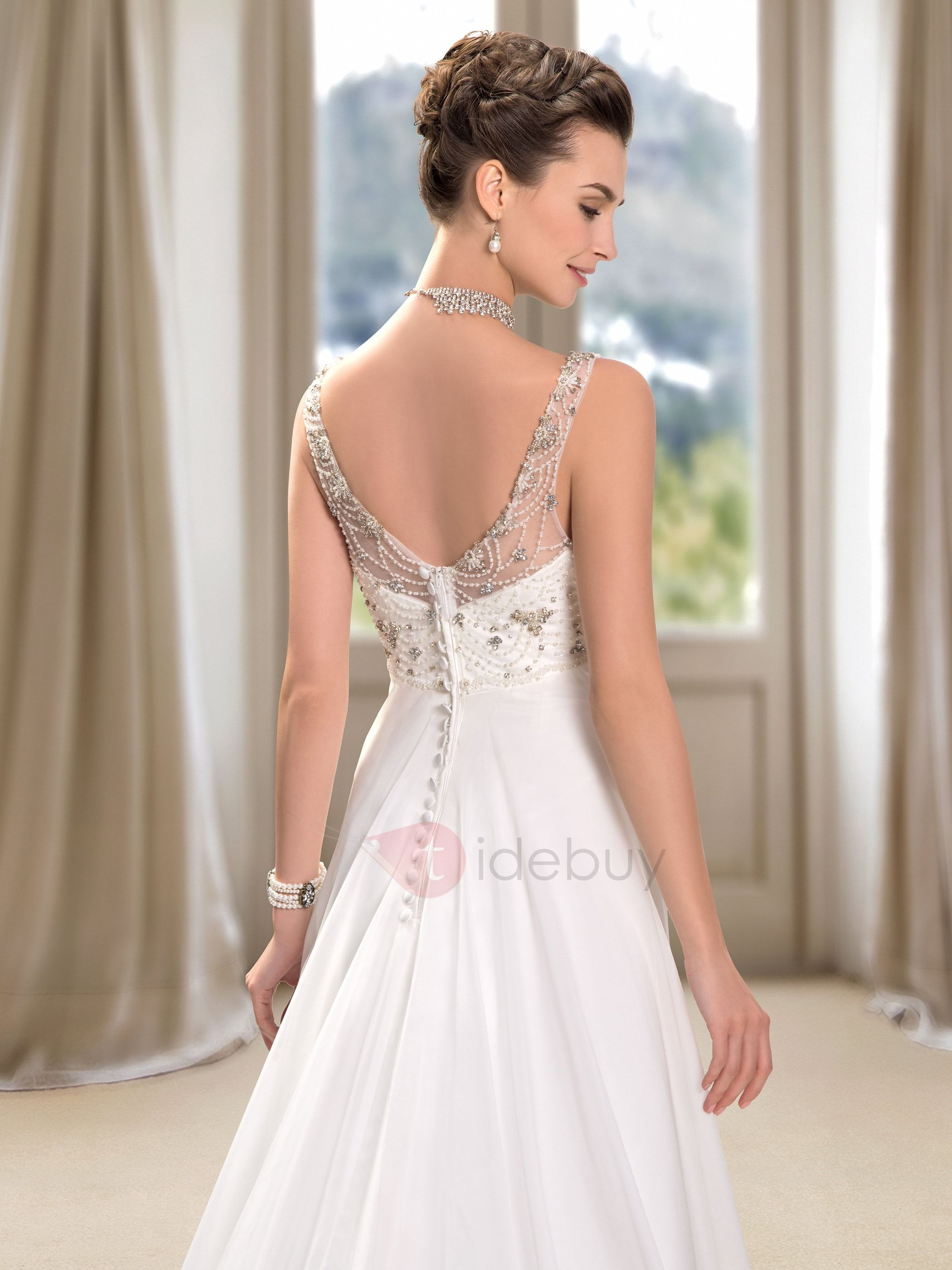 Beaded vneck floor length aline wedding dress beach weddings