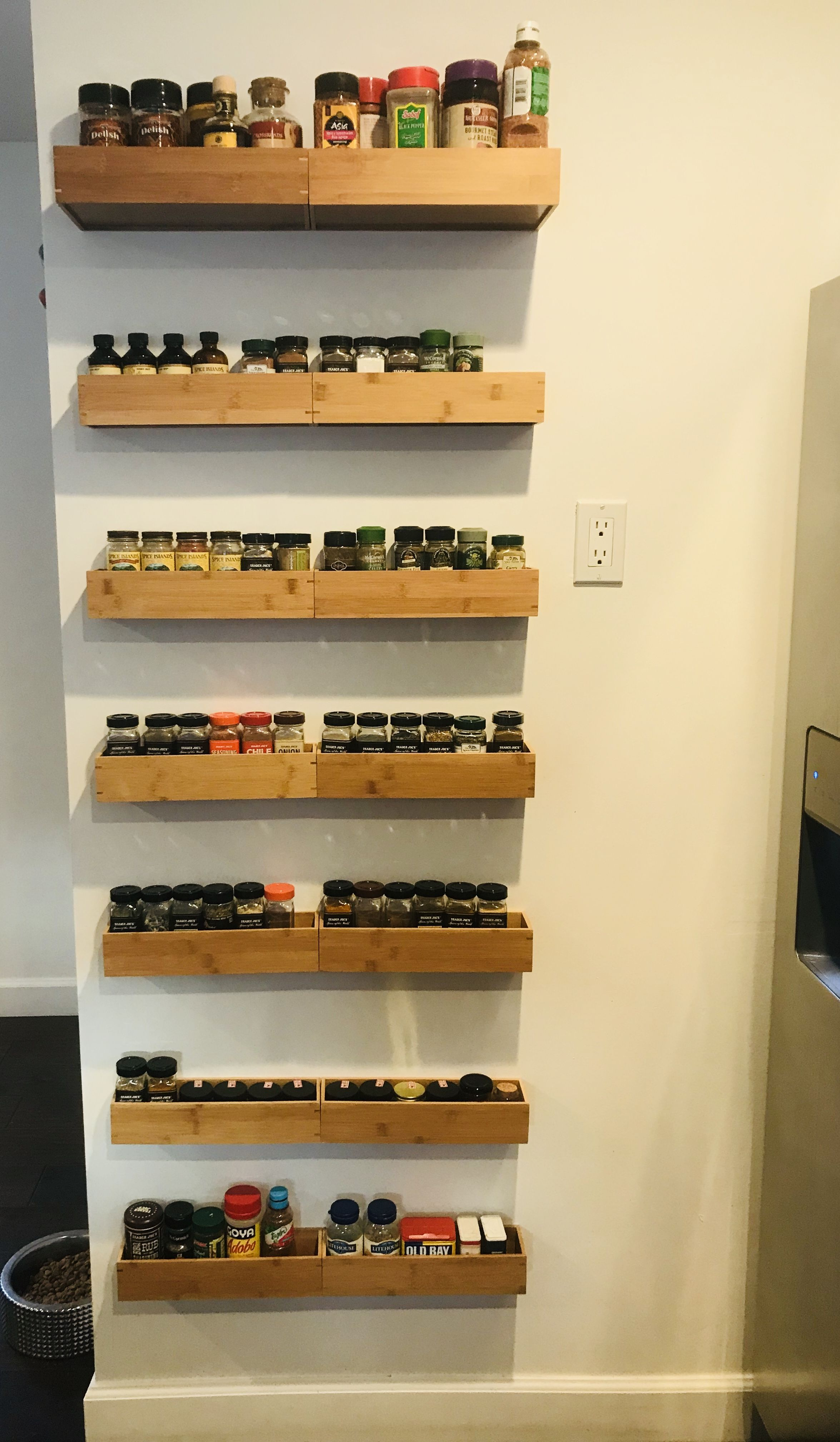 Diy Spice Rack Floating Bamboo Drawer Organizers Bought At Bed