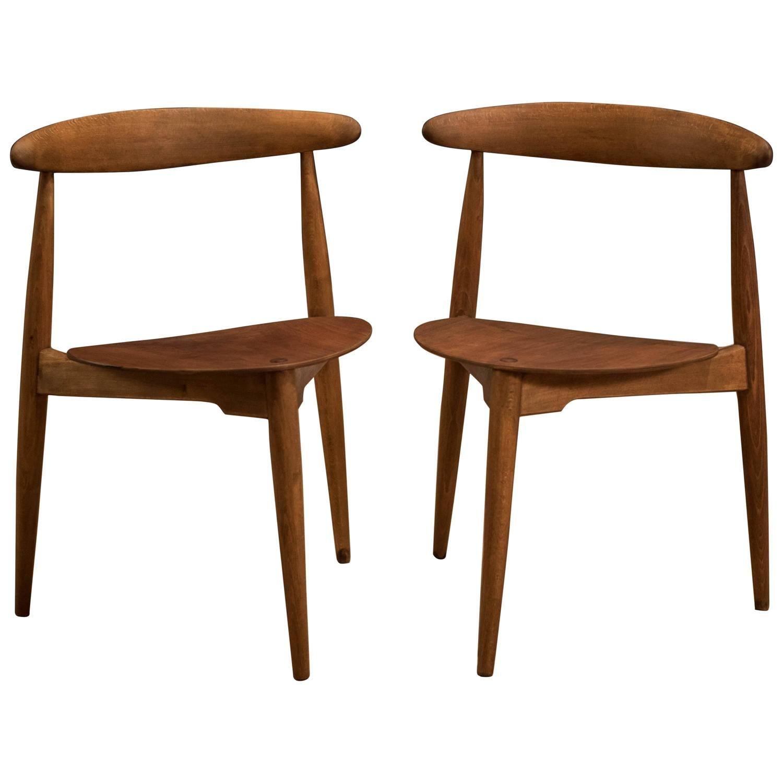 Pair of Hans Wegner Heart Chairs FH 4103