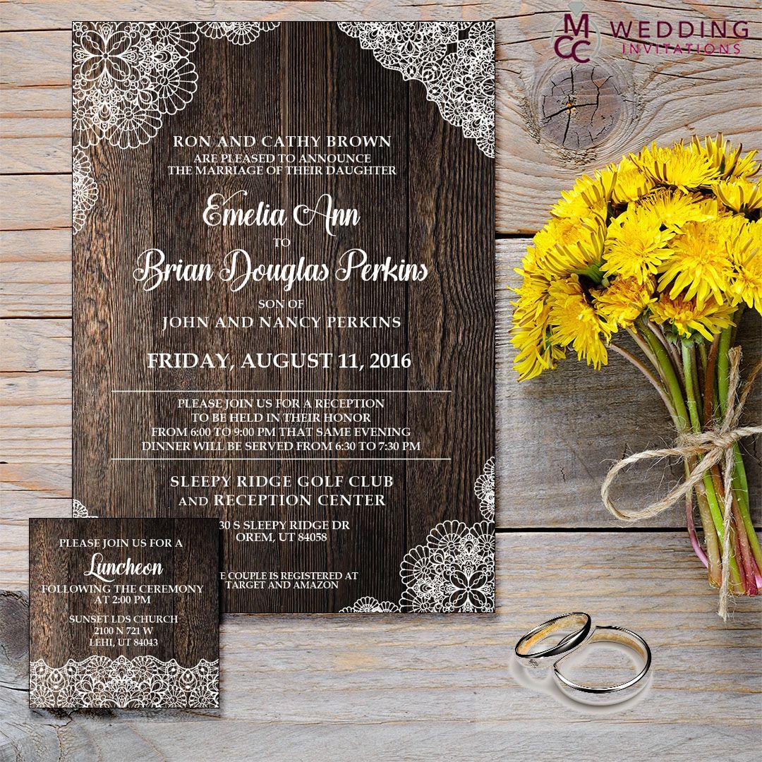 Rustic Lace Wedding Invitation Wedding Invitations Rustic Lace Wedding Invitations Online Rustic Wedding Cards