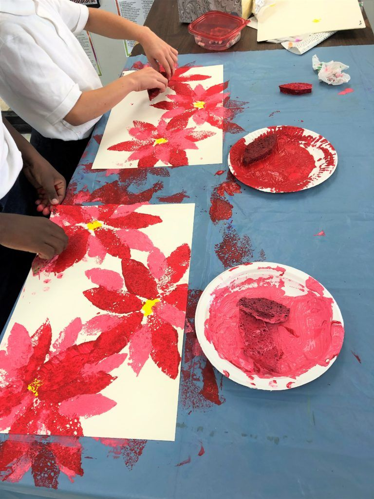 Photo of Poinsettia Flowers Art Lesson for Advent for kids – Leah Newton Art