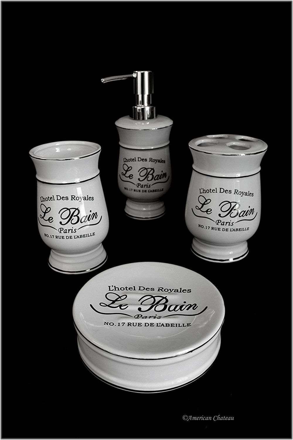 french bath accessories |  and white french apothecary bath