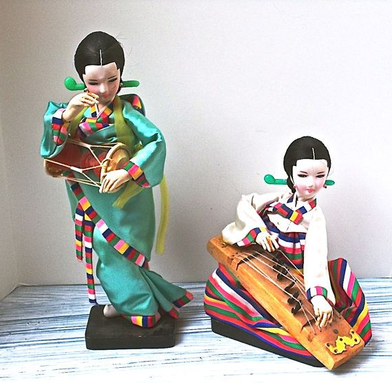 Vintage Asian Dolls 2 Silk Dress Musical by heartseasevintage, $27.00