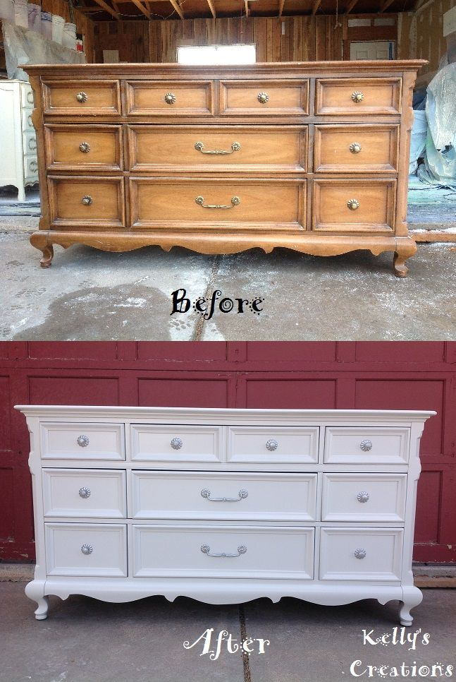 9 drawer dresser painted a simple white with silver hardware before and after pictures.  Refinished by Kelly's Creations. https://www.facebook.com/pages/Kellys-Creations-Refinished-Furniture/524028237619793