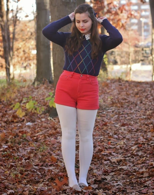 White opaque tights, bright red shorts and blue cardigan | Fashion ...