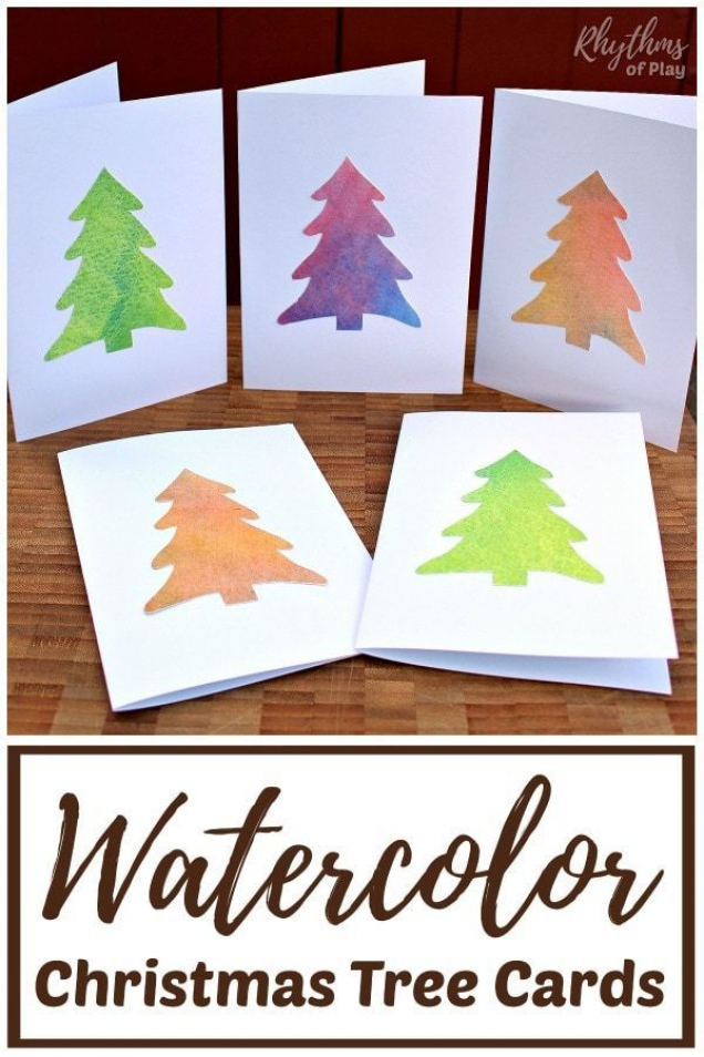 Watercolor Christmas Tree Cards - Make some handmade Christmas cards for family and friends! Invite