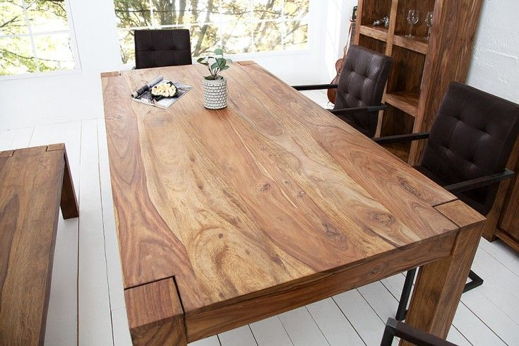 fine --\u003e Exklusiver Massiver Esstisch Sheesham MAKASSAR 160cm Tisch