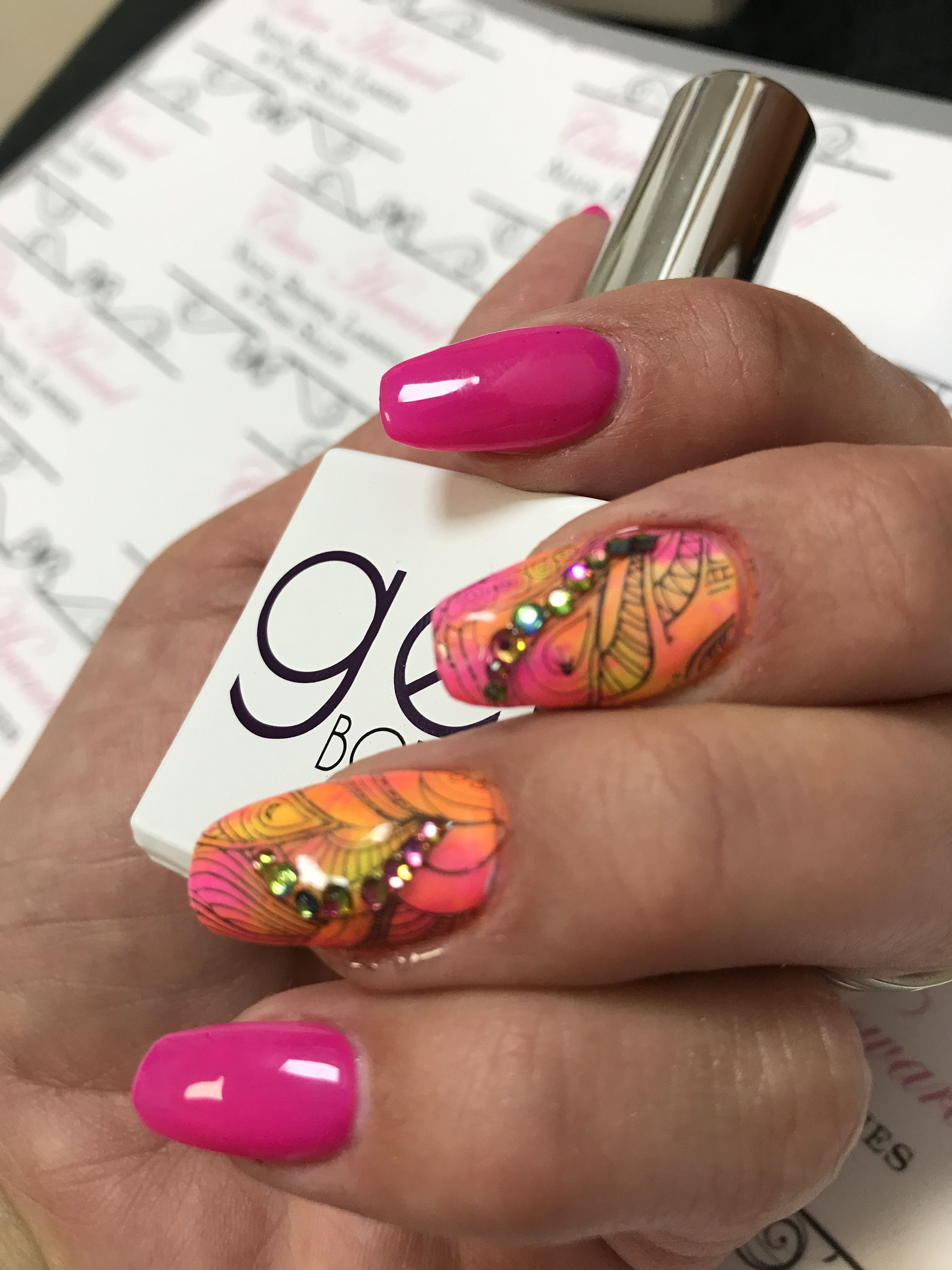 Beautiful holiday nails, acrylic sculptures with the gel bottle 054 ...